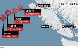 خمسة زلازل تضرب كندا اليوم الاثنين