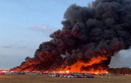 حريق كبير في مطار فلوريدا يلتهم أكثر من 3500 سيارة مستأجرة..!