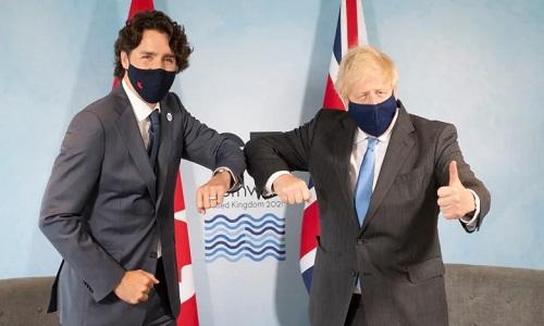 ترودو وجونسون يناقشان اتفاقية تجارة حرة شاملة بين كندا والمملكة المتحدة